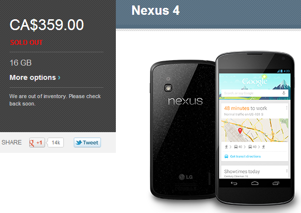 Google sells out of 8GB Nexus 4