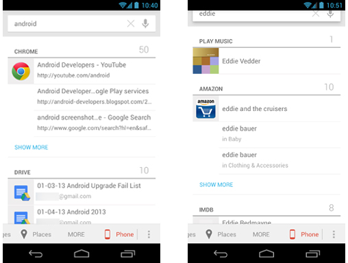 android universal search