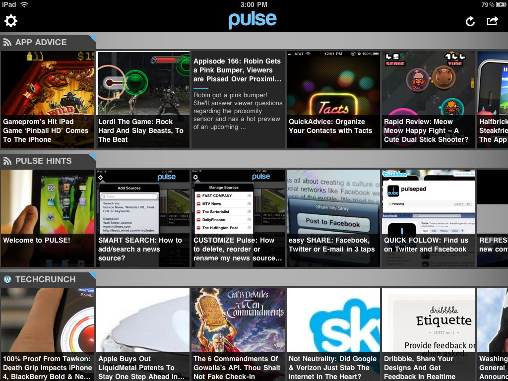 Pulse News user interface is perfect for touch-screen fans.