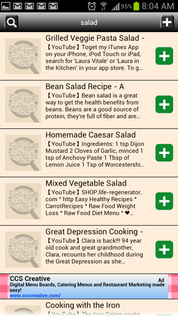 Recipe-Search-for-Android-YouTube-Video-Search-Results