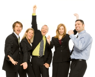 Business people stand excited