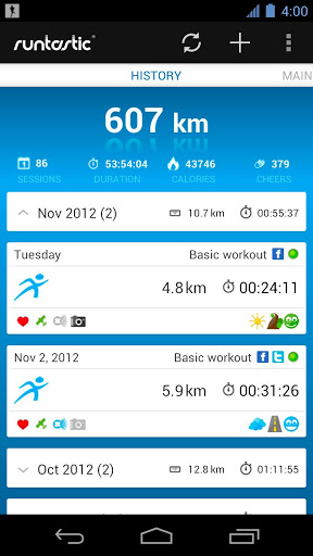 Runtastic lets you pre-set the kind of work out you want to do on that day