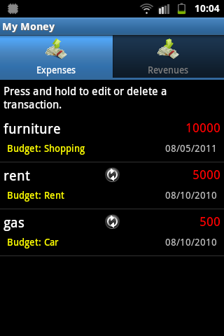 My Money expenses