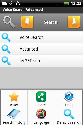 Voice Search Advanced menu