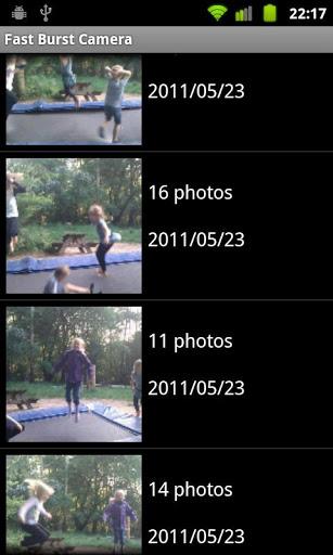 fast burst camera menu