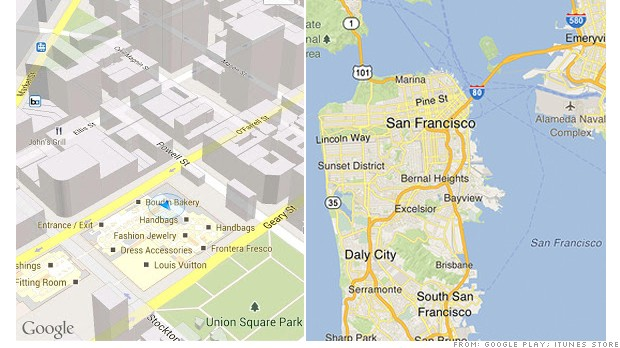 google maps ipad versus android