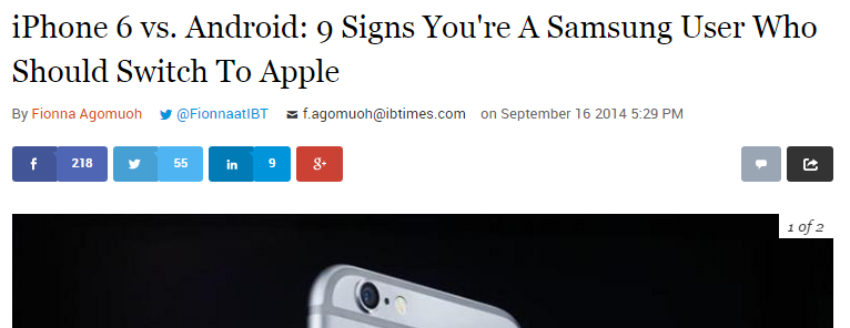 """Writer Baits Android Users With Article: """"9 Signs You're a Samsung User Who Should Switch to Apple"""""""