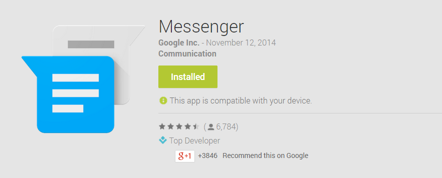 Google Releases Default Android Messenger Onto Play Store