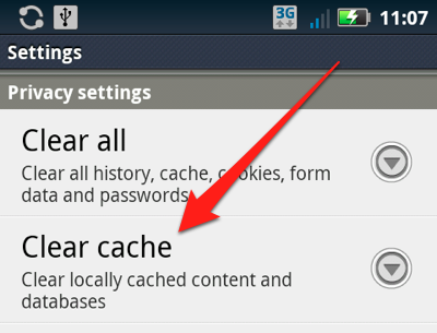 clear cache android